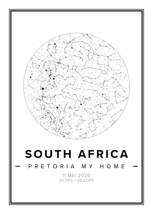 South Africa Star Map Print