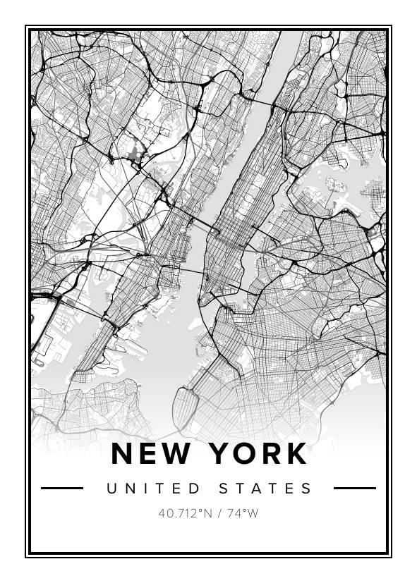 Map Of New York Poster.Beautiful Map Poster Of New York 50x70cm Mapiful
