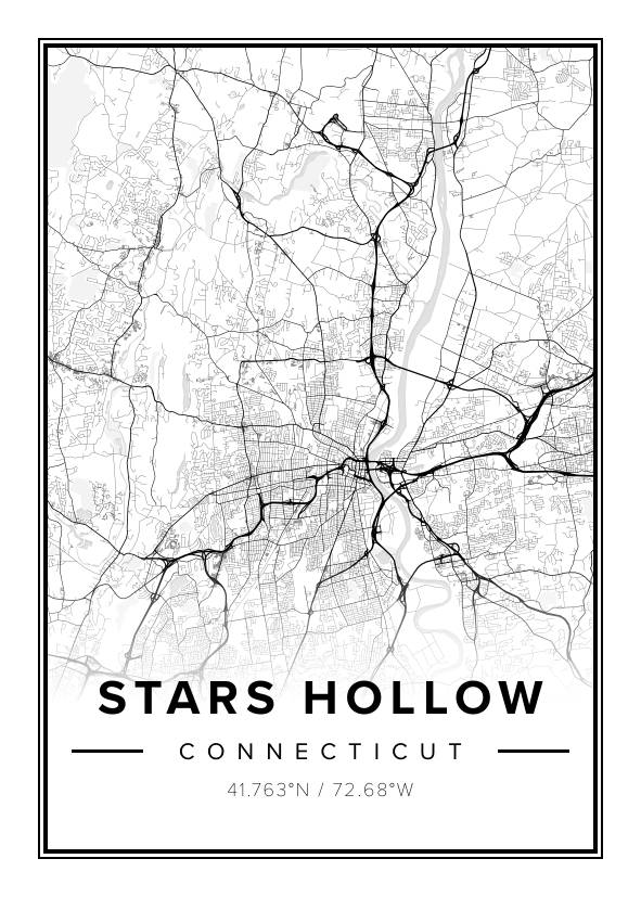Stars Hollow Map Beautiful map poster of Stars Hollow, 50x70cm   Mapiful