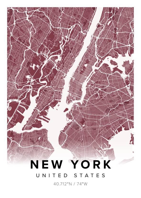 Beautiful map poster of New York chilli, 50x70cm - Mapiful